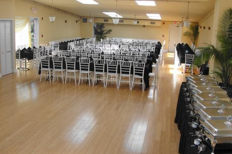 Our 2100 square foot Banquet Hall can seat up to 200 guests (shown)...and still have a dance floor.